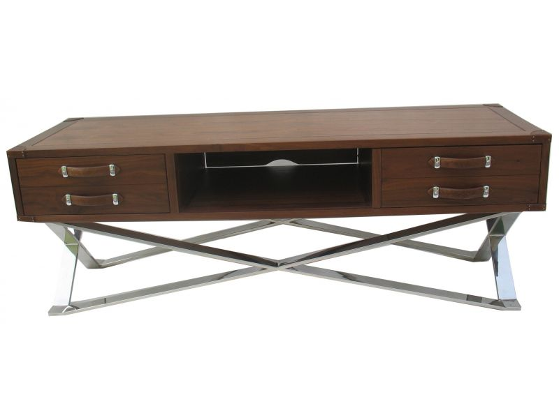 meuble tv noyer noir et inox new york. Black Bedroom Furniture Sets. Home Design Ideas