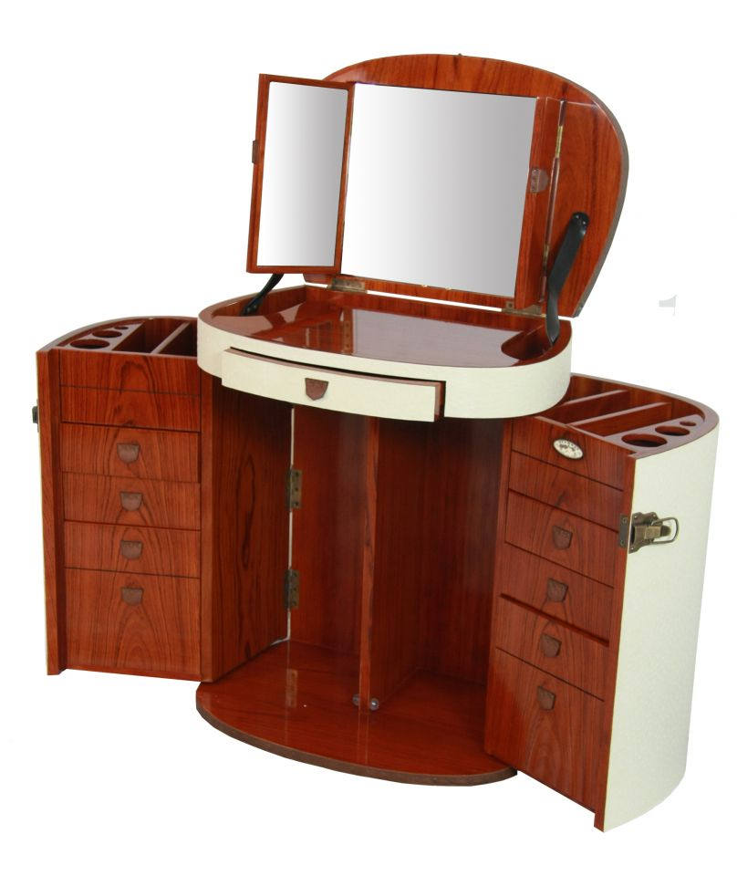 Marie galante makeup trunk dressing table with mirror ivory for Dressing mirror
