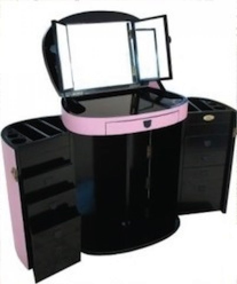 coiffeuse pliante rose avec miroir marie galante. Black Bedroom Furniture Sets. Home Design Ideas