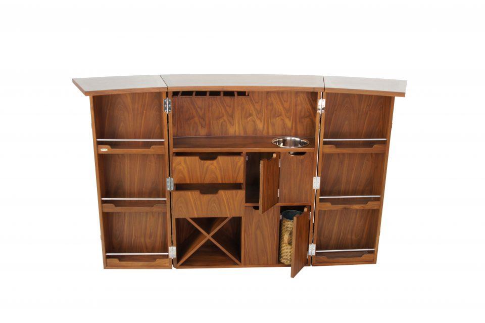bar comptoir en noyer fa ade cuir marron malawi. Black Bedroom Furniture Sets. Home Design Ideas