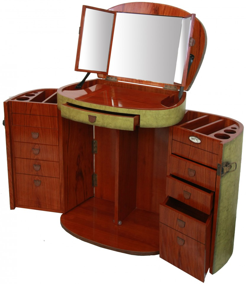Marie galante dressing table with mirror vanity jade for Coiffeuse meuble