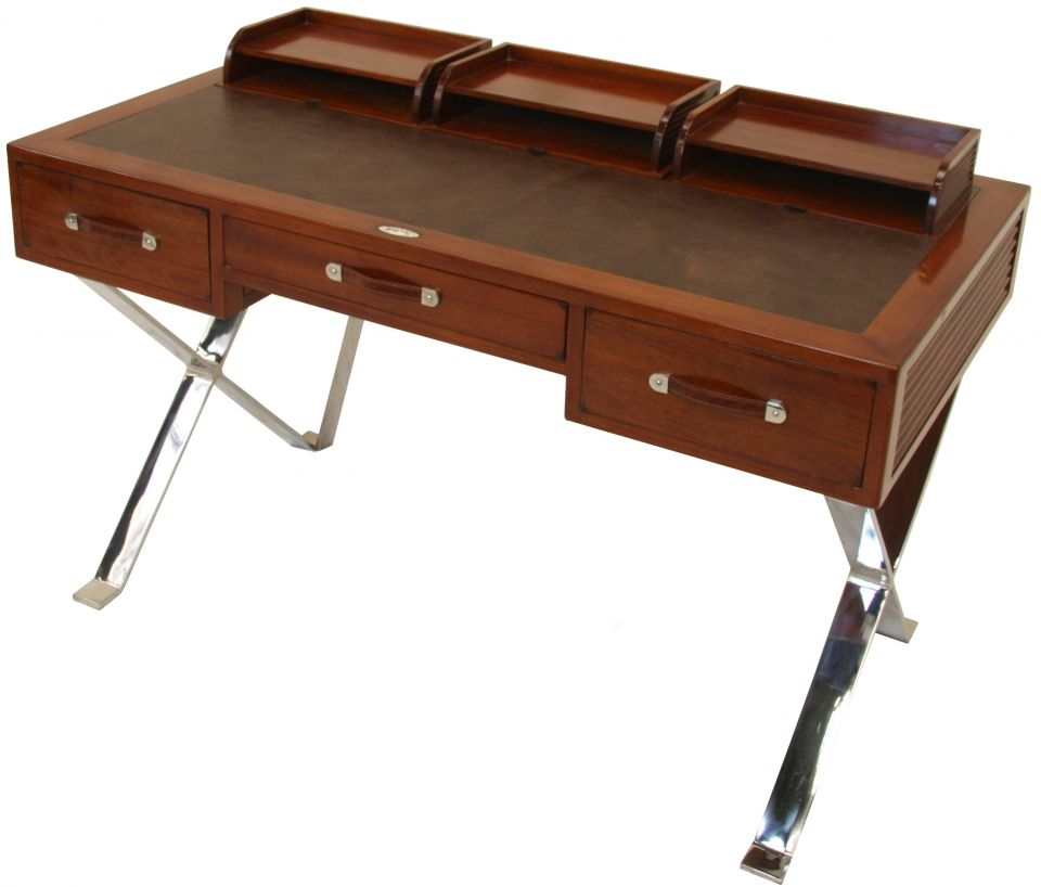 Desk wood leather and inox new york for Table armoire inox