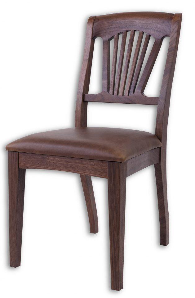 chaise noyer et cuir marron trinidad. Black Bedroom Furniture Sets. Home Design Ideas