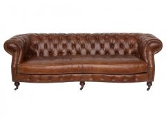 Canapé cuir Chesterfield  3 places - Zola