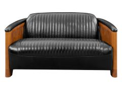 Club sofa, black leather - Ibiza