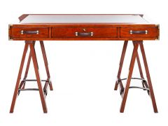 Explorer desk.  Wood, leather and brass - DUGUAY TROUIN
