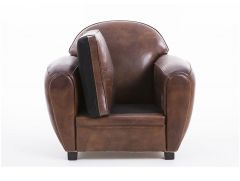 Fauteuil club cuir marron cigare - CHURCHILL