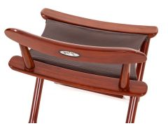 Folding chair Rosewood finish and leather - BERMUDES