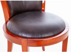 Chaise cuir marron, finition Rosewood - GRETA