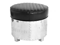 Round footstools black leather- DC3