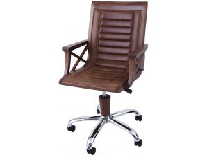 Bureau Noir 100 Cm : Desk in black walnut leather and inox new york
