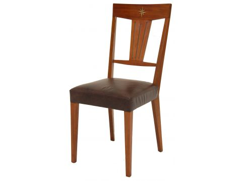Dining chair wood and leather - CHESTER
