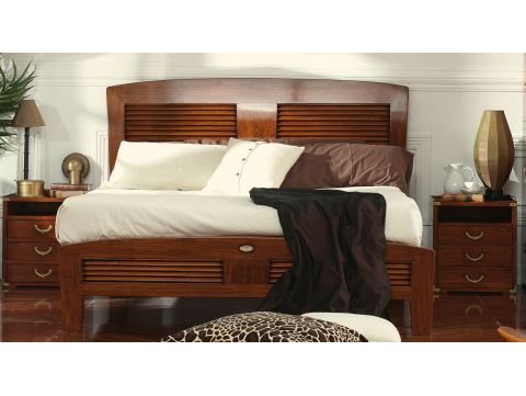 Queen size bed Rosewood finish 160 cm - BORNEO