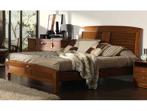 King size bed Rosewood finish 180 cm - BORNEO
