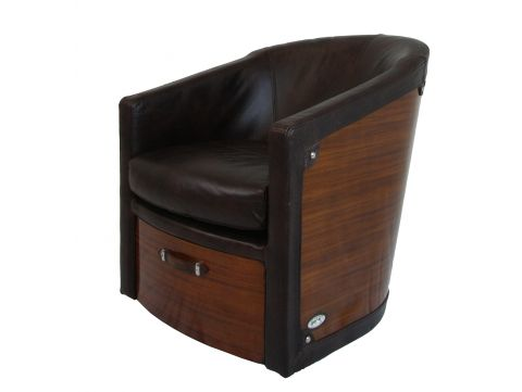 Swivel Easy Chair Rosewood and brown leather- NEW YORK