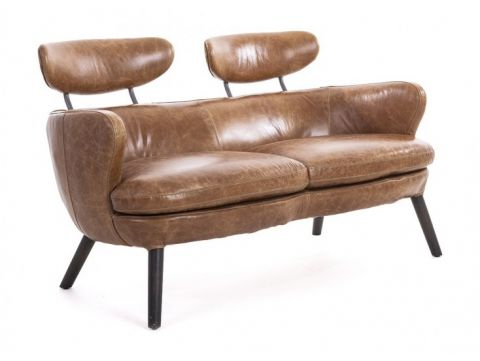 Brown leather sofa. Two seaters - RUBIS
