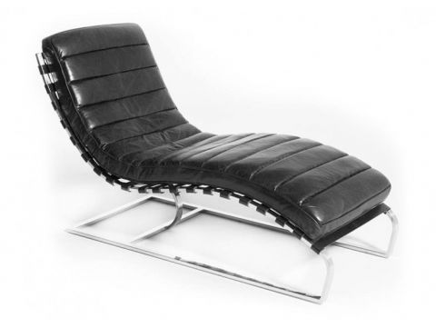 Lounge chair - relax armchair, black leather  and chromed metal