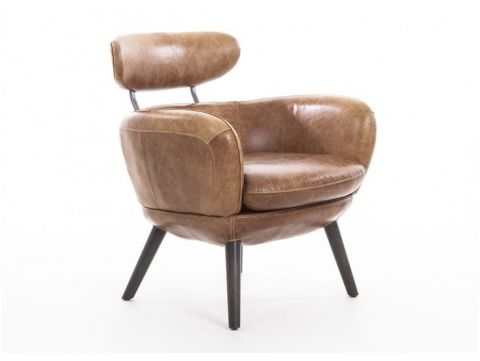 Brown leather armchair - RUBIS
