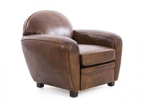 Brown cigar leather club armchair - CHURCHILL