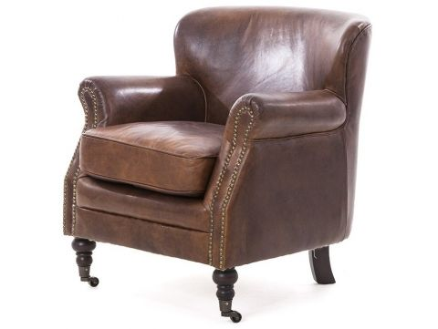 Brown leather armchair - PROFESSOR