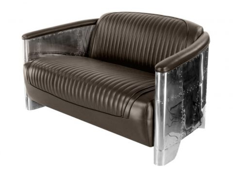 Aviator DC3 sofa - Dark brown leather