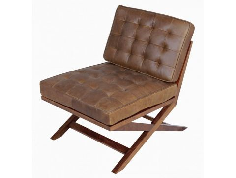 Easy Chair in walnut and brown leather - BROADWAY