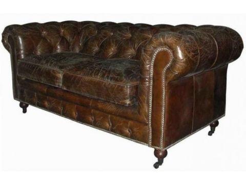 Brown Chesterfield Sofa Cigar - 2 seater