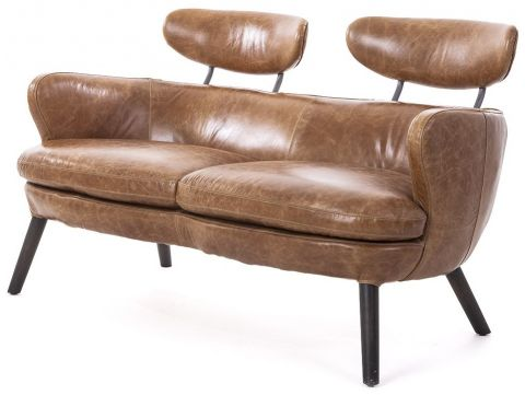 Brown leather sofa. Two seater - RUBIS