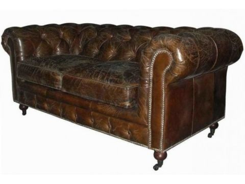 Canapé Chesterfield marron cigare - 2 places