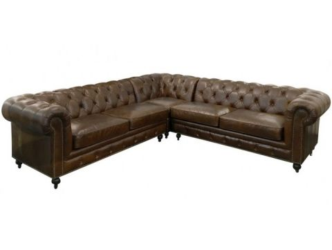 Canapé d'angle cuir Chesterfield  - Marron cigare