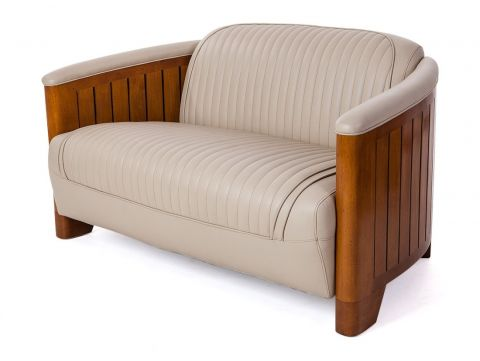 Canoë Sofa two seaters - Beige leather