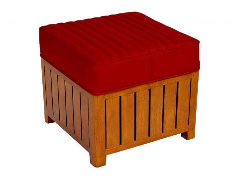 Canoë -  Square footstools red leather.