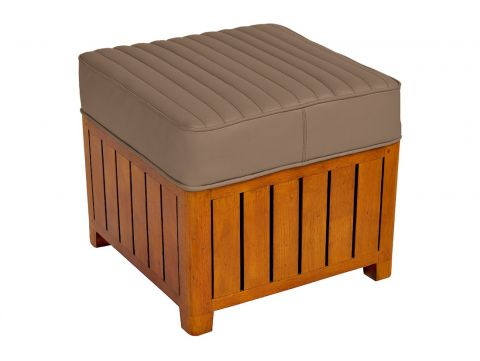 Canoë -  Square footstools taupe leather.