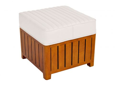 Canoë -  Square footstools white leather.