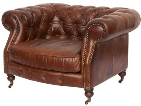 Chesterfield leather brown cigar armchair - ZOLA