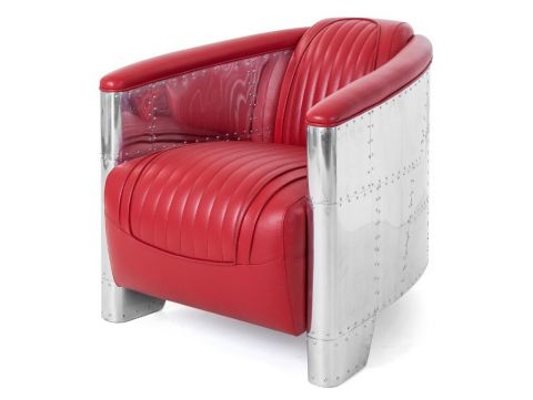Aviator DC3 Club armchair - Red leather