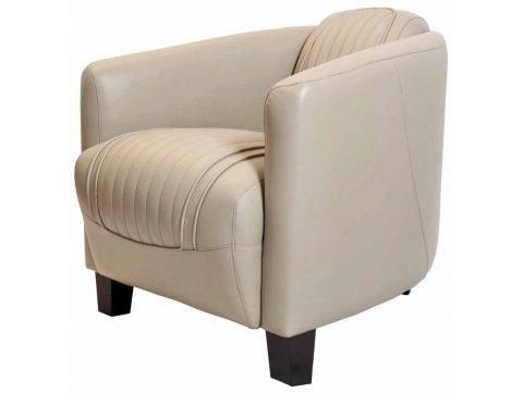 Club armchair - Beige leather- Barquette sport.
