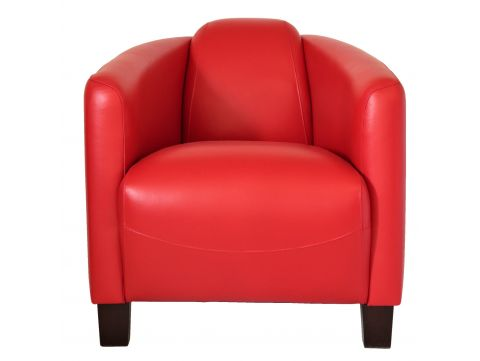 Club armchair - Red leather- Barquette sport.