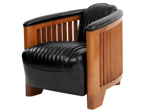 Club armchair, noir leather - Ibiza