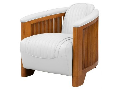 Club armchair, white leather - Ibiza