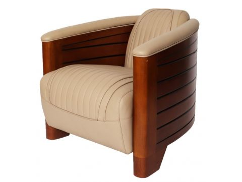 Club armchair beige leather - Pirogue