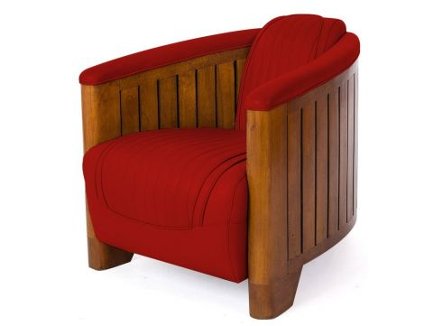 Club armchair red leather - Canoë