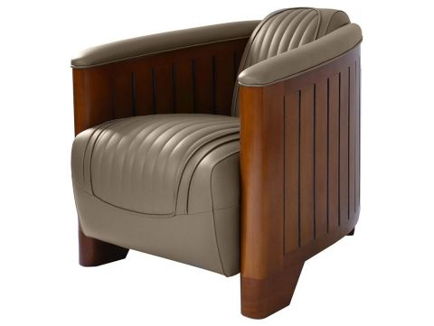 Club armchair taupe leather - Canoë