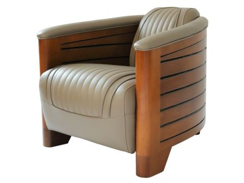 Club armchair taupe leather - Pirogue