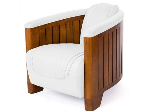 Club armchair white leather - Canoë