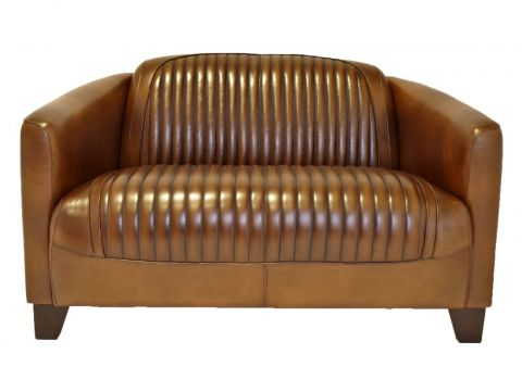 Club sofa - brown leather- Barquette sport.
