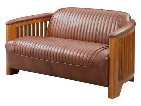 Club sofa, brown leather - Ibiza