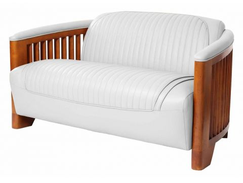 Club sofa, white leather - Ibiza
