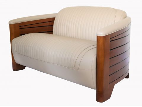 Club sofa beige leather - Pirogue