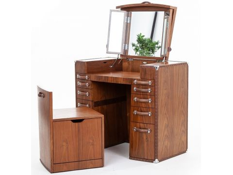 Dressing table  walnut with seat, vanity with mirror  - LA DESIRADE